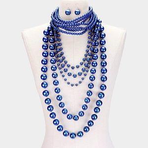 Jewelry - 2PCS Blu Pearl Choker & Layered Statement Necklace
